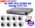 Hikvision 4K 8MP Turbo HD Analog CCTV System: 8MP 8CH DVR + 4TB HDD + 4K Mini-Dome Cameras x8