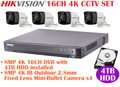 Hikvision 4K 8MP Turbo HD Analog CCTV System: 8MP 8CH DVR + 4TB HDD + 4K Mini-Bullet Cameras x4