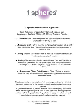 T Spheres Techniques of Application