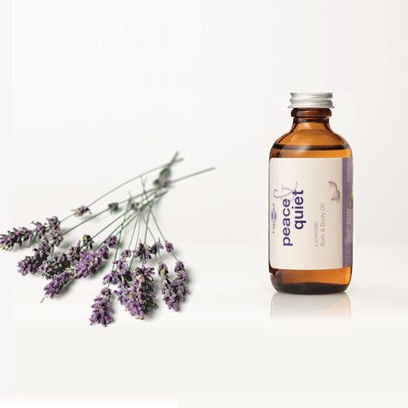 Lavender Peace & Quiet Bath & Body Oil can be used in or after bath, applied directly on skin, hair & face, for use in massage and used for refilling your refresher spray for the T Spheres set.