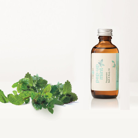 Peppermint Pep-Up-Mint Bath & Body Oil can be used in or after bath, applied directly on skin, hair & face, for use in massage and used for refilling your refresher spray for the T Spheres set.