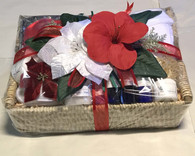 The Weekend Spa Retreat beautifully wrapped spa basket with silk flowers and ribbons. A perfect Holiday gift