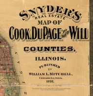 Title of Source Map -  Cook, Dupage, & Will Cos., Illinois 1898 Old Town Map Custom Print - Cook Dupage Will Cos.