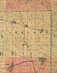 Addison, Illinois 1898 Old Town Map Custom Print - Cook Dupage Will Cos.