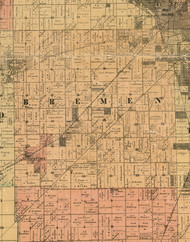Bremen, Illinois 1898 Old Town Map Custom Print - Cook Dupage Will Cos.