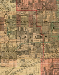 Cicero, Illinois 1898 Old Town Map Custom Print - Cook Dupage Will Cos.