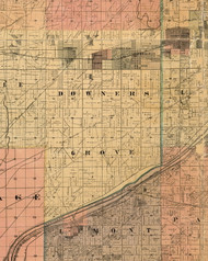 Downers Grove, Illinois 1898 Old Town Map Custom Print - Cook Dupage Will Cos.