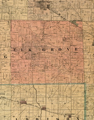 Elk Grove, Illinois 1898 Old Town Map Custom Print - Cook Dupage Will Cos.