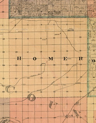 Homer, Illinois 1898 Old Town Map Custom Print - Cook Dupage Will Cos.