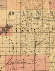 Lisle, Illinois 1898 Old Town Map Custom Print - Cook Dupage Will Cos.