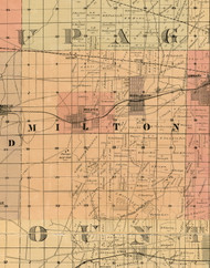 Milton, Illinois 1898 Old Town Map Custom Print - Cook Dupage Will Cos.