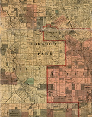 Norwood Park, Illinois 1898 Old Town Map Custom Print - Cook Dupage Will Cos.