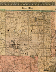 Wheeling, Illinois 1898 Old Town Map Custom Print - Cook Dupage Will Cos.