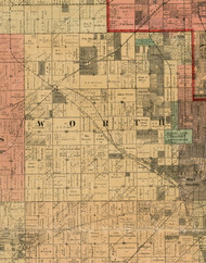 Worth, Illinois 1898 Old Town Map Custom Print - Cook Dupage Will Cos.