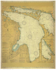Lake Huron 1910 - Old Map Nautical Chart Custom Print
