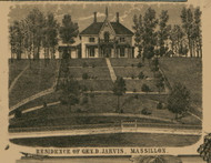 Massillon General Jarvis Residence - Perry, Ohio 1850 Old Town Map Custom Print - Stark Co.