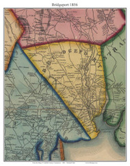 Bridgeport, Connecticut 1856 Fairfield Co. - Old Map Custom Print