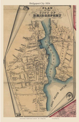 Bridgeport City, Connecticut 1856 Fairfield Co. - Old Map Custom Print