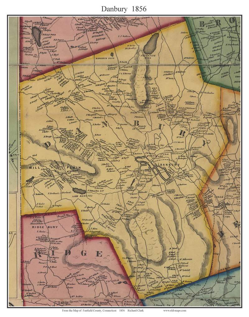 Danbury, Connecticut 1856 Fairfield Co. - Old Map Custom Print - OLD on