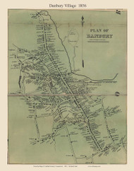 Danbury Village, Connecticut 1856 Fairfield Co. - Old Map Custom Print