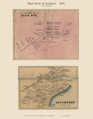 Black Rock and Southport Villages, Connecticut 1856 Fairfield Co. - Old Map Custom Print
