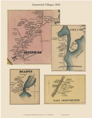 Greenwich, Cos Cob, Mianus and East Portchester, Connecticut 1856 Fairfield Co. - Old Map Custom Print