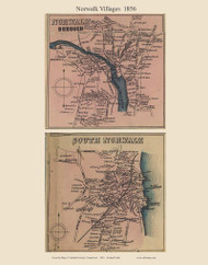 Norwalk and South Norwalk Villages, Connecticut 1856 Fairfield Co. - Old Map Custom Print