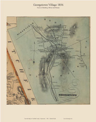 Georgetown, Connecticut 1856 Fairfield Co. - Old Map Custom Print