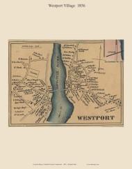 Westport Village, Connecticut 1856 Fairfield Co. - Old Map Custom Print