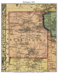 Burlington, Connecticut 1855 Hartford Co. - Old Map Custom Print