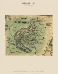 Collinsville Village, Connecticut 1855 Hartford Co. - Old Map Custom Print