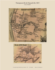 Thompsonville and Hazardville Villages, Connecticut 1855 Hartford Co. - Old Map Custom Print