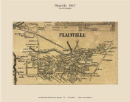 Plainville Village, Connecticut 1855 Hartford Co. - Old Map Custom Print