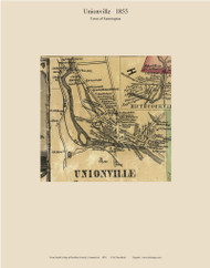 Unionville Village, Connecticut 1855 Hartford Co. - Old Map Custom Print