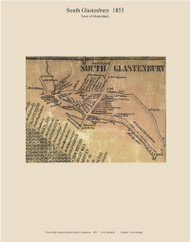 South Glastenbury Village, Connecticut 1855 Hartford Co. - Old Map Custom Print