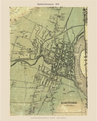 Hartford Village, Connecticut 1855 Hartford Co. - Old Map Custom Print