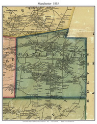 Manchester, Connecticut 1855 Hartford Co. - Old Map Custom Print