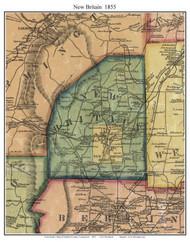 New Britain, Connecticut 1855 Hartford Co. - Old Map Custom Print