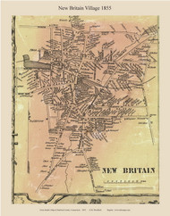 New Britain Village, Connecticut 1855 Hartford Co. - Old Map Custom Print