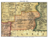 Rocky Hill, Connecticut 1855 Hartford Co. - Old Map Custom Print