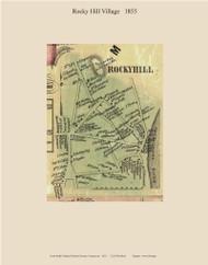 Rocky Hill Village, Connecticut 1855 Hartford Co. - Old Map Custom Print