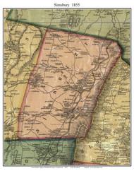 Simsbury, Connecticut 1855 Hartford Co. - Old Map Custom Print