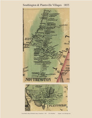 Southington and Plantsville Villages, Connecticut 1855 Hartford Co. - Old Map Custom Print