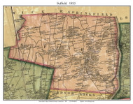 Suffield, Connecticut 1855 Hartford Co. - Old Map Custom Print