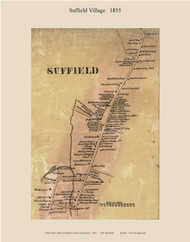 Suffield Village, Connecticut 1855 Hartford Co. - Old Map Custom Print