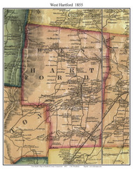 West Hartford, Connecticut 1855 Hartford Co. - Old Map Custom Print