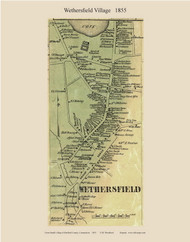 Wethersfield Village, Connecticut 1855 Hartford Co. - Old Map Custom Print