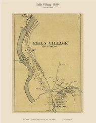 Falls Village, Connecticut 1859 Litchfield Co. - Old Map Custom Print