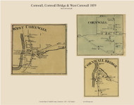 Cornwall, West Cornwall and Cornwall Bridge Villages, Connecticut 1859 Litchfield Co. - Old Map Custom Print