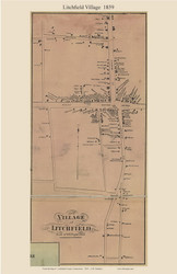 Litchfield Village, Connecticut 1859 Litchfield Co. - Old Map Custom Print